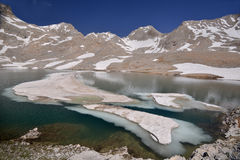 Lake with ice in mountains Royalty Free Stock Photo