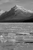 Lake Ice and Snowy Mountain in Black and White Stock Photography