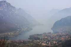 Lake Idro. Aerial view on Lake Idro in north Italy Royalty Free Stock Images