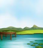 Lake. Illustration of a lake scene Stock Photos