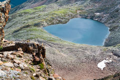 Lake In Form Of A Heart. Alps Stock Photo
