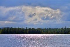 Lake Inari in the evening. Stock Photos