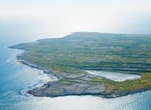 Lake on Inisheer island. Aerial landscape of Inisheer Island and the lake, part of Aran Islands, Ireland Royalty Free Stock Photo