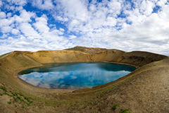 The lake inside Viti crater, Krafla caldera. Krafla is a caldera of about 10 km in diameter with a 90 km long fissure zone, in the north of Iceland in the Mý royalty free stock images
