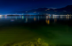 Lake Iseo by night. Lovere, Iseo Lake night lights Stock Photo