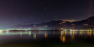 Lake Iseo by night. Lovere, Iseo Lake night lights Stock Photography