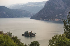 Lake Iseo and a small island with a castle Stock Photo