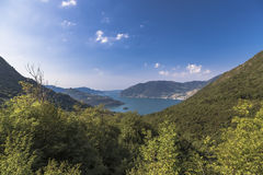 Lake Iseo and a small island in it Royalty Free Stock Photography