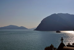 Lake Iseo at sunset, Lombardy, Italy. Royalty Free Stock Photo