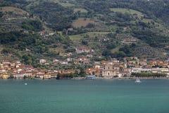 Lake Iseo and the village Sale Marasino Stock Images