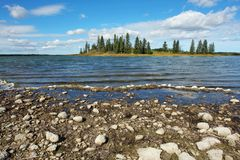 Lake and island. View of astotin lake and its bank, elk island national park, edmonton, alberta, canada stock photography