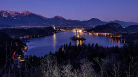 Lake and island Bled at night Royalty Free Stock Image