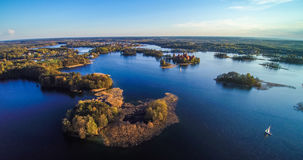 Lake with islands, aerial Royalty Free Stock Image