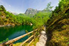 Lake in Italy. Lake Lago del Mis in the Italian Dolomites Royalty Free Stock Photos