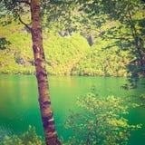 Lake in Italy. Lake Lago del Mis in the Italian Dolomites, Instagram Effect Stock Photo
