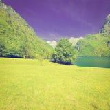 Lake in Italy. Lake Lago del Mis in the Italian Dolomites, Instagram Effect Stock Images