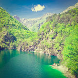 Lake in Italy. Lake Lago del Mis in the Italian Dolomites, Instagram Effect Royalty Free Stock Photo