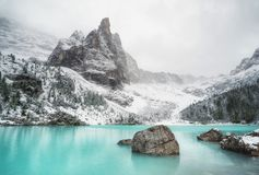 Lake in the Italy mountains. Beautiful natural landscape at the winter time Stock Images