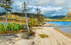 The lake of Jack London in the Magadan region. On sunset Stock Photography