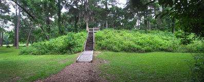 Lake Jackson Mounds - Archaeological Park. Lake Jackson Indian ceremonial complex consisted of mounds such as this one with the walkway going up to the top. The Stock Images