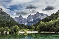 Lake Jasna near Kranjska Gora, Slovenia. Royalty Free Stock Images