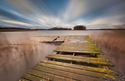 Lake with jetty. long exposure landscape. Stock Photography