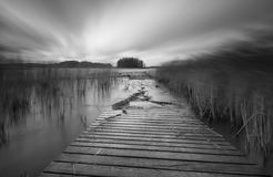 Lake with jetty. long exposure landscape. Stock Image