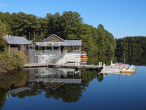 Lake Johnson, North Carolina. Boathouse on Lake Johnson in Raleigh, North Carolina in the fall royalty free stock photos