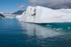 Lake Jokulsarlon. Mountains and icebergs on the lake in Iceland Jokulsarlon Royalty Free Stock Image