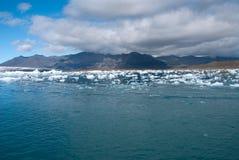 Lake Jokulsarlon. Mountains and icebergs on the lake in Iceland Jokulsarlon Stock Images