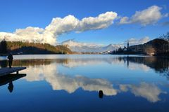Bled with lake, island and mountains in background, Slovenia, Eu Royalty Free Stock Images