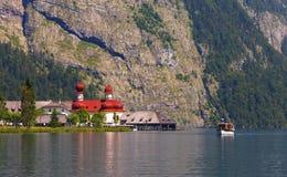 Lake of Königsee with st Bartholoma church Royalty Free Stock Photo