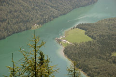 Lake Königssee in the bavarian Alps Royalty Free Stock Images