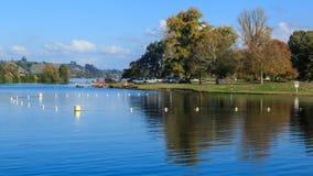Lake Karapiro, New Zealand. Boat launching area royalty free stock image