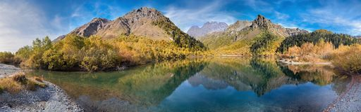 Panoramic view of Lake Kardyvach. Caucasian Biosphere Reserve. Lake Kardyvach is the mirror heart of the Caucasian Biosphere Reserve royalty free stock photo