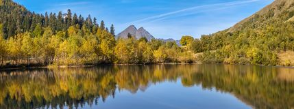 Lake Kardyvach in October. Caucasian Biosphere Reserve. Lake Kardyvach is the mirror heart of the Caucasian Biosphere Reserve royalty free stock photography