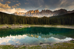 Lake Karersee (Lago di Carezza) in the Dolomites in Italy Stock Photo