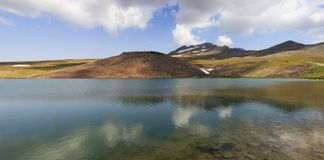 Lake Kari at mount Aragats in Armenia. Panoramic view of lake Kari at mount Aragats in Armenia Stock Photos