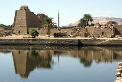 Lake and Karnak temple. Lake inside Karnak temple in Luxor, Egypt royalty free stock photos