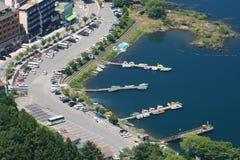 Lake Kawaguchi. Aerial view of Kawaguchi Lake.Kawaguchi located near Mount Fuji in Japan Royalty Free Stock Images