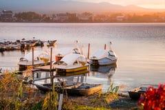 Lake Kawaguchi. Beautiful scenery of lake Kawaguchi, Japan stock photo