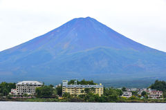 Lake of Kawaguchi with Fuj Mountain. KAWAGUCHIKO, JAPAN - OCTOBER 9, 2016: Lake of Kawaguchi with Fuji Mountain background stock photo