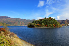 Lake Kawaguchi in Japan. Lake Kawaguchi with clear blue sky in Japan stock photos