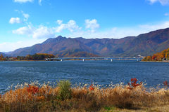 Lake kawaguchi in Japan. With clear blue sky stock photo