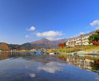 Lake kawaguchi. In japan with clear blue sky royalty free stock photography