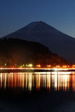 Lake Kawaguchi and Mount Fuji. Before sunrise stock image