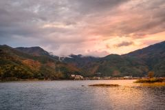 Lake Kawaguchi -one of the scenic Mt Fuji five lakes, Japan. Autumn colors at sunset in Fujikawaguchiko - a Japanese resort town in the northern foothills of stock photos