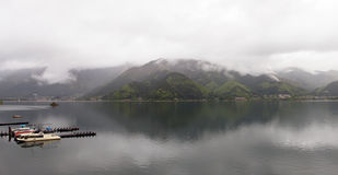 Lake Kawaguchi - Panorama. Lake Kawaguchi is located at the foot of Mount Fuji, the 5-Lakes area Royalty Free Stock Images