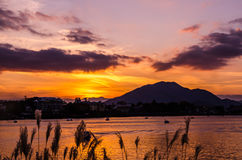 Lake Kawaguchi at the sunset, Japan. Lake Kawaguchi at the sunset, Kawaguchi-ko, Japan royalty free stock photo