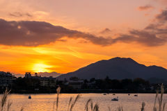 Lake Kawaguchi at the sunset stock images